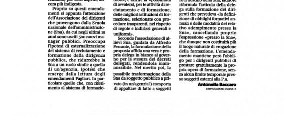 Articolo Corsera Allievi SSPA emendamenti DDL Madia